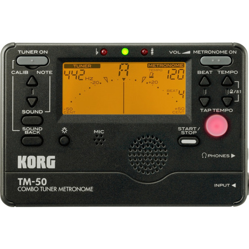 afinador korg cromatico con metronomo tm50-bk