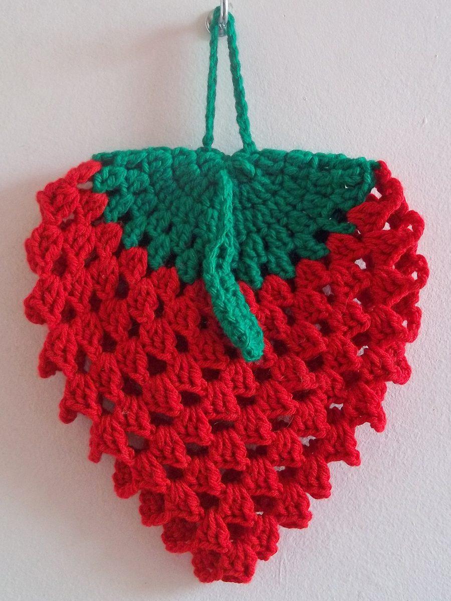 Agarradera Apoya Pava Frutilla Crochet Cocina Decoración - $ 109,00 ...