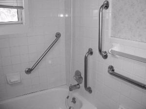 agarradera para baño de acero moleteado de 12 o 16