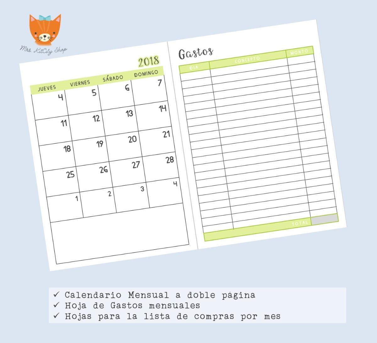 Agenda 2018 Para Imprimir Nuevos Dise 241 Os 75 00 En