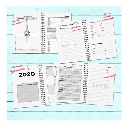 agenda 2020 diaria, tapa dura 15x21 personalizada