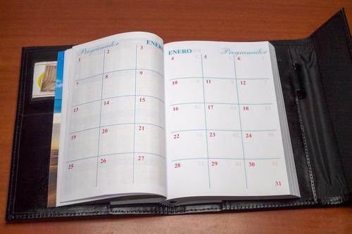 agenda ejecutiva - forro en 100 % cuero (cualquier año)