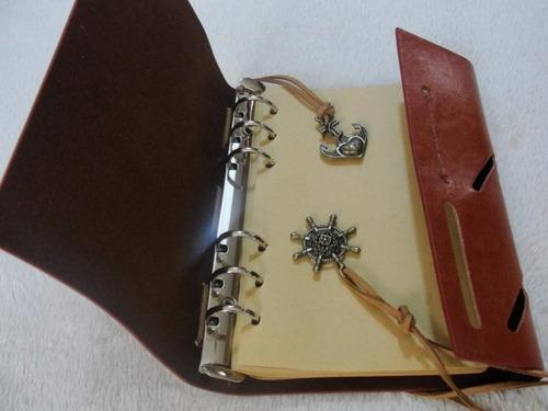 agenda grande diário vintage couro retrô rústico marrom ,