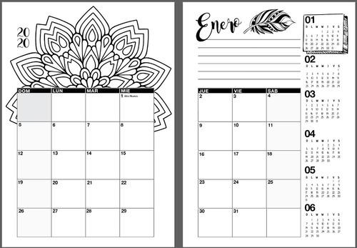 agenda/planner mandalas  .pdf para coser o anillar