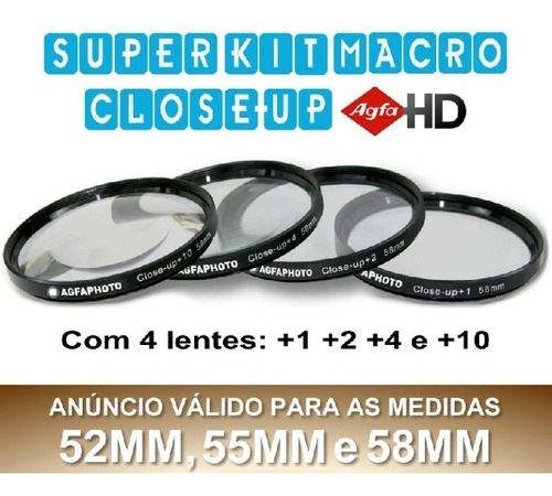 agfa kit macro hd close-up fullhd 52mm 55mm 58mm hoya