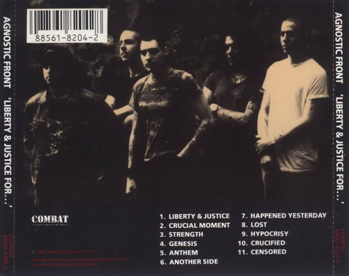 agnostic front liberty and justice for cd punk hardcore