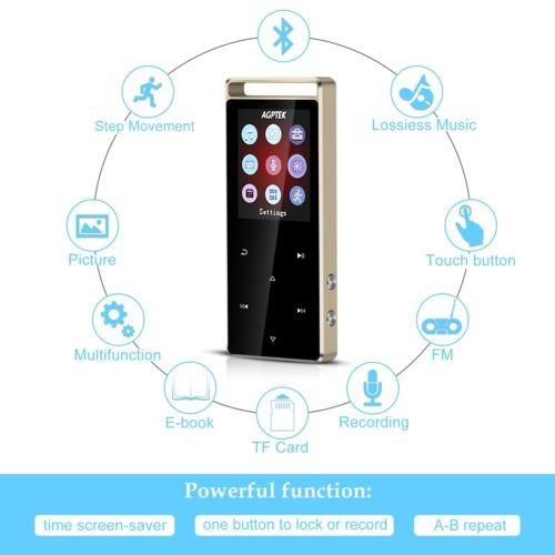 agptek 8gb reproductor de mp3 bluetooth touch botón con fm /