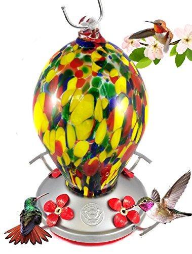agradecido gnome  alimentador de colibrí  cristal soplado