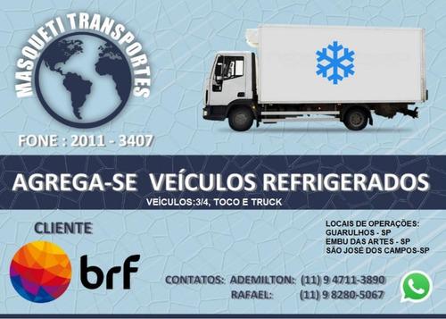agrega - se veículo caminhão refrigerado 3/4 toco truck