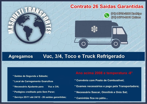 agrega se veiculos refrigerado iveco caminhão 3/4 toco truck