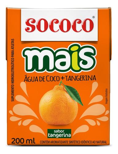 água de coco+tangerina sococo 200ml - kit com 24 unidades