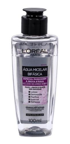 água micelar bifásica maquiagem à prova d'água l'oréal 100ml