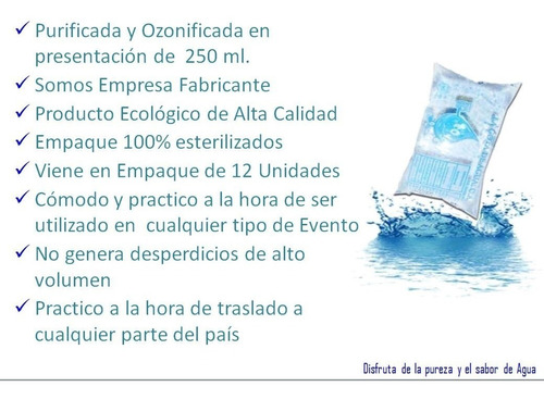 agua mineral  100% purificada y ozonificada de 250 ml