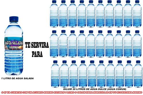 agua pura ideal para pecera1 galon de  de agua salada xaris.