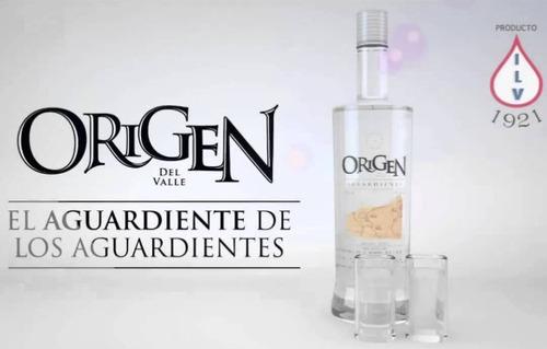 aguardiente origen del valle sin azúcar 750 ml botella 29%
