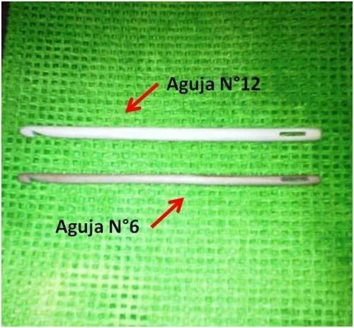 aguja de crochet para le técnica de knooking