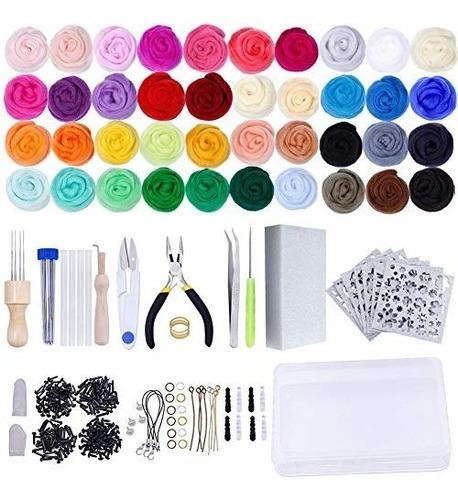 aguja kit fieltrado - lana mecha 40 colores conjunto - kit