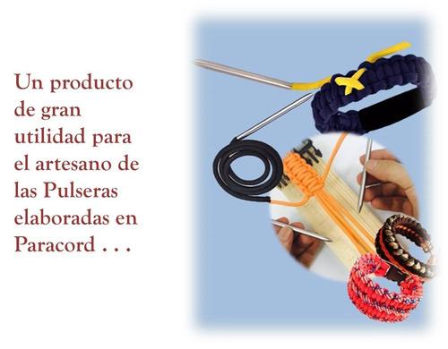 aguja larga con ángulo tejer adornar pulseras con paracord