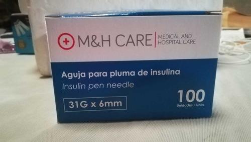 aguja para pluma de insulina m&h care 31g x 6mm