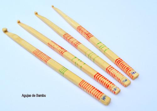 agujas de bambu para tejido en crochet n°6