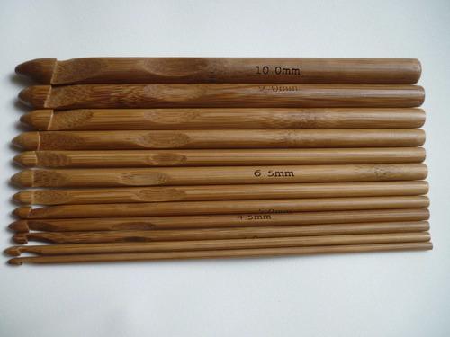 agujas de crochet de bambu