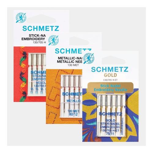 agujas schmetz especiales para bordadora familiar (3 pack)