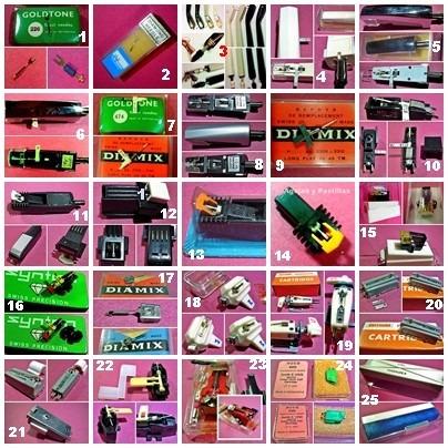 agujas y pastillas para tocadiscos 25 modelos diferentes