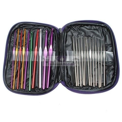 agulhas para crochê kit com 22 - case