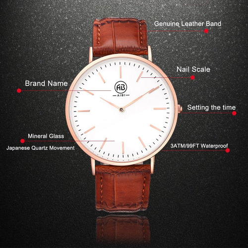 aibi hombres ab02401-3 analog quartz rosegold reloj con caja