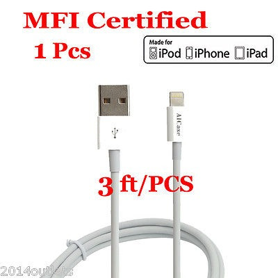aicase 3ft mfi certificó lightning usb sync datos cable f...