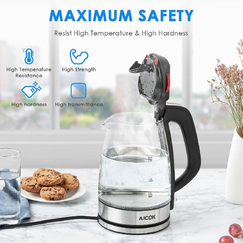 aicok vidrio hervidor de agua eléctrico 1.7l fast hervidor