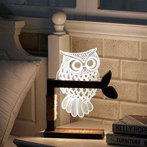 aidool home 3d owl shape led desk lamp adjustable brightness