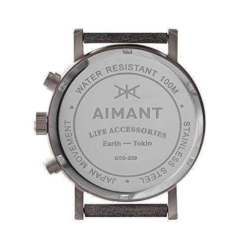 aimant reloj hombre tokyo plata con correa cuero gris gto220