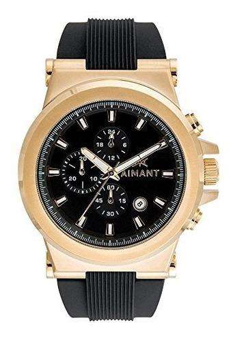 aimant reloj monaco gold con correa de silicona negra gmo-18