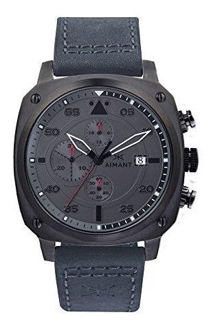 aimant reloj para hombre dakar gun metal con correa de cuero