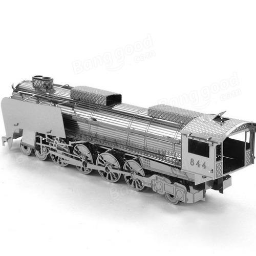 aipin 3d diy rompecabezas acero inoxidable modelo kit tren