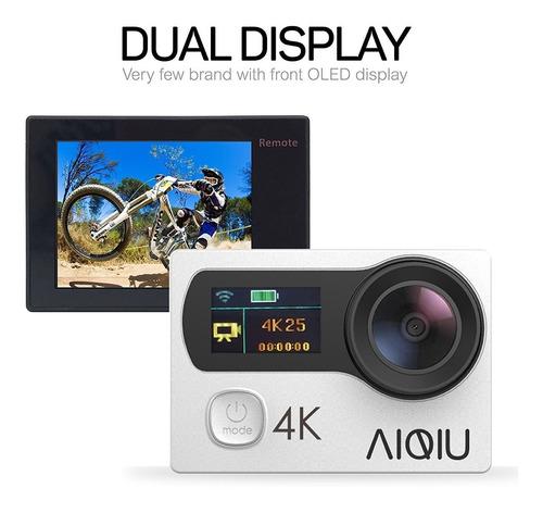 aiqiu 4k cámara de acción, sensor de sony wifi impermeable d