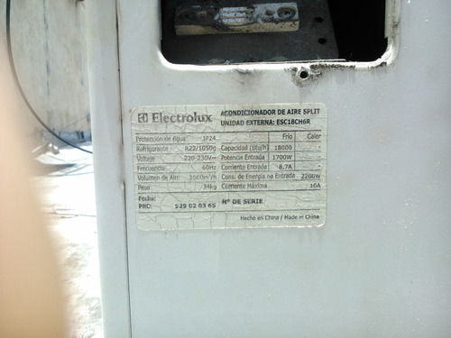 aire acondicionado 18.000 btu electrolux