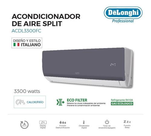 aire acondicionado delonghi frio/calor split clase a 3400 w