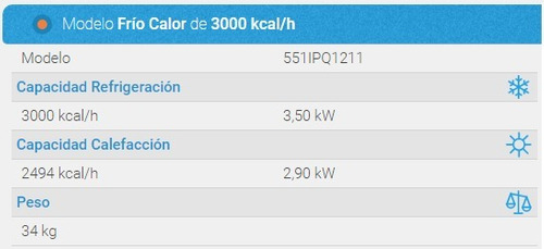 aire acondicionado portatil surrey 551ipq1211 3000 kcal/h
