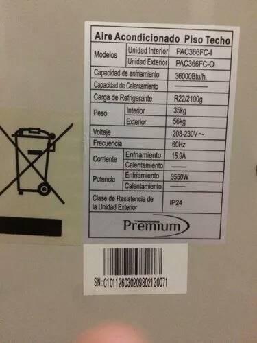 aire acondicionado premiun 36000 btu en su caja