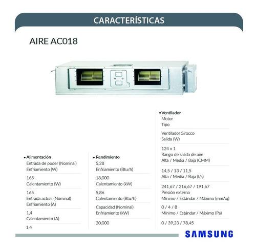 aire acondicionado samsung fancoil + condensador 18000 btu