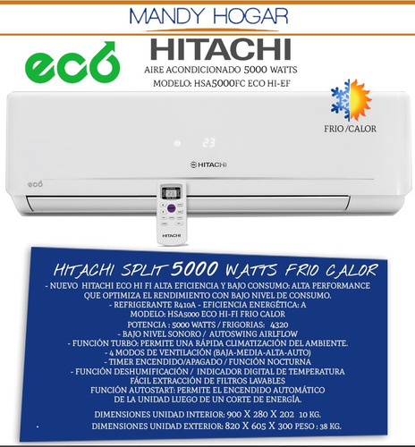 aire acondicionado split hitachi 5000 watts eco frio calor a