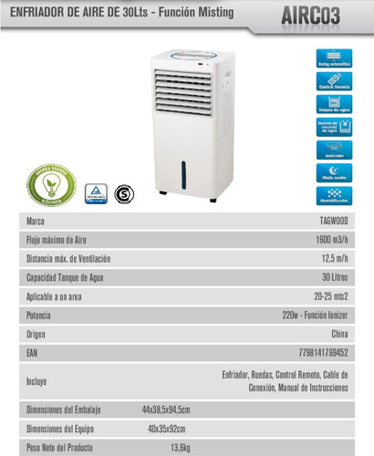 aire enfriador portatil tagwood airc03 220w garantía oficial
