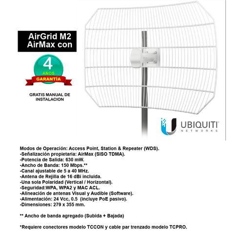 airgrid m2 airmax con antena de rejilla de 16 dbi