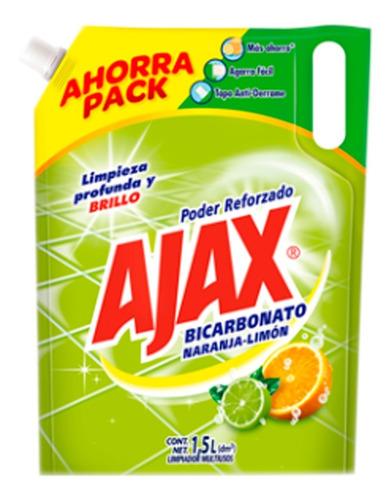 ajax limpia pisos bicarbonato naranja  limón 1.5 litros