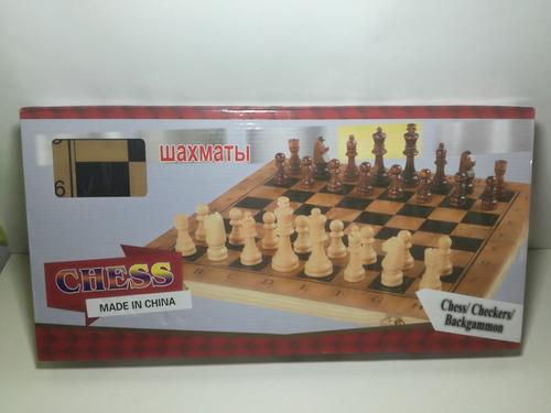 ajedrez 3 en 1 tablero y fichas de madera 40 x 40