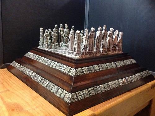 ajedrez aztecas vs españoles piramide artesanal temático