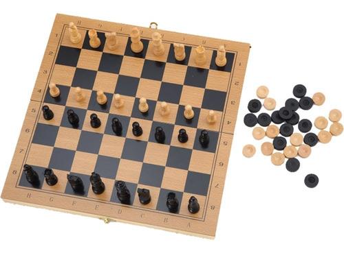 ajedréz damas y backgammon madera plegable juego de mesa