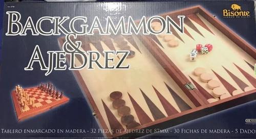 ajedrez, damas y backgamon 3 en 1 tablero caja madera